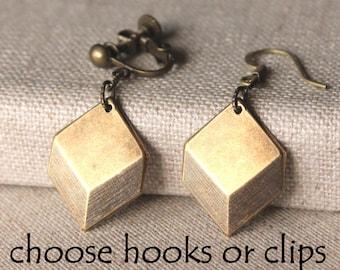 Art deco earrings Gold geometric earrings, hooks or clip earrings, antique brass cube lightweight dangle earrings Art Deco Jewelry E626