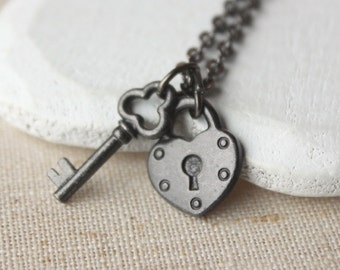 Heart necklace Valentine gift Lock and key pendant necklace small black heart padlock pendant for girlfriend choose length of chain N110
