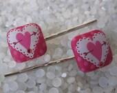 Beautiful  bobby pin , brocade heart, Valentine's day barrette heart hair barrette