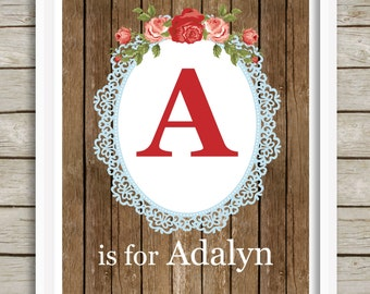 Custom Letter Art, Baby Girl Nursery Print, Monogram Art, Kids Wall Art, Floral Nursery Decor, Personalized Nursery, Kids Gift, Initial Art