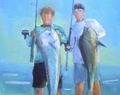 Fishermen Art Print, Giclee Print on Canvas, Deep Sea Fishing, free shipping, choose your size