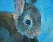 "Bunny Painting, Rabbit Painting, Wildlife Painting, 6x8"" Oil on Canvas Panel"