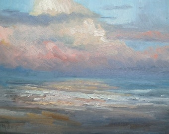 Sunset Seascape Giclee Print on Canvas, blue, pin, choose your size, free shipping