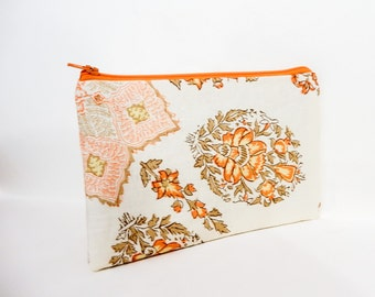 Boho Pouch, Cosmetic Bag, Pencil Pouch, Zipper Pouch, Fabric Pouch, Pouch, Gift for Her, Gift Under 20, Boho Motifs Orange Taupe Off White