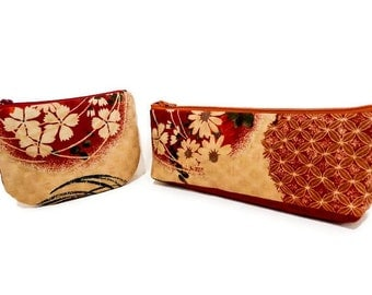 Zipper Pouch, Coin Purse, Change Pouch, Cotton Pouch, Pencil Case, Pouch, Japanese Import Pouch, Wine Red with Flowers Long or Circular