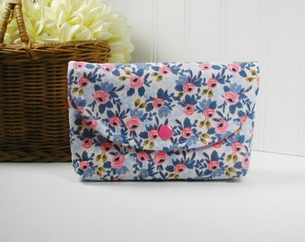 Snap Pouch, Large Snap Pouch, Cosmetic Pouch ... Les Fleurs Rosa in Periwinkle, Rifle Paper Co