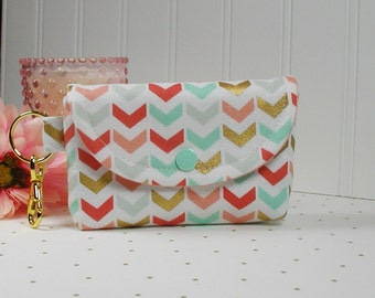 Small Snap Pouch with Gold Clip... Broken Chevon in Mint Coral and Gold