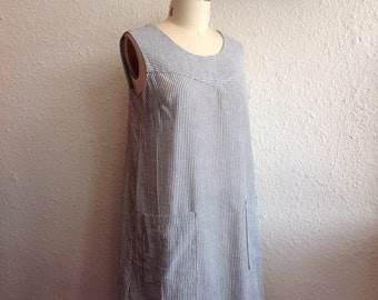 Striped cotton seersucker sun dress Sz 12/14