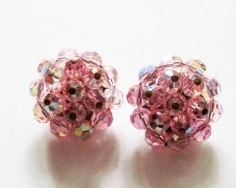 Vintage Pink Aurora Borealis Earrings