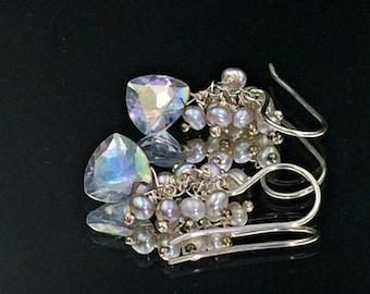 Blue Earrings Mystic Blue Quartz Trillion Pyramid Crystal Earring Gemstone Quartz Wire Wrap Pearl Cluster Sterling Silver Bridesmaid