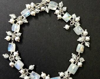 VALENTINES SALE Wedding Bracelet Wire Wrap Moonstone Bracelet Pearl Gem Cluster Dangle Bracelet Bridal Jewelry