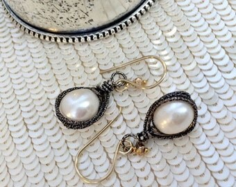 VALENTINES SALE Pearl Dangle Earrings Mixed Metal Gold Filled Oxidized Silver Wire Wrap Ivory Teardrop Pearl Minimalist Earrings Urban Chic