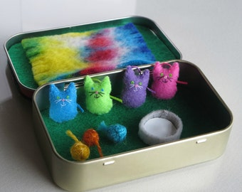 Bright colored Cats miniature felt plush in Altoid tin play set - Hot pink- Neon green- Sky blue and Bright purple
