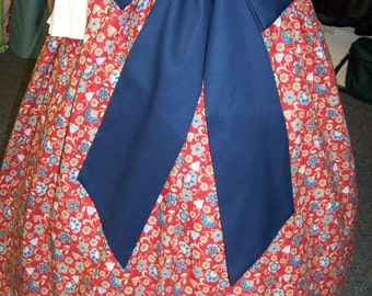 Colonial,Civil War,Victorian, Long SKIRT for camp dress one size fit all Large red blue and tan floral print with blue sash