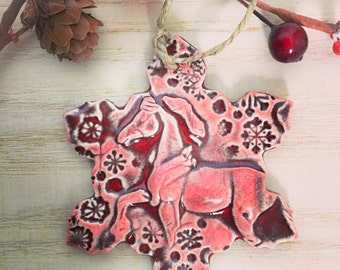 Horse Ornament - Handmade Pottery - Equestrian Gift