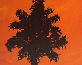 Tree Silhouette Block 98  - Original Acrylic Painting