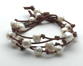 Multistrand Leather Pearl Bracelet. Rustic Brown Leather, White Freshwater Pearls, Lotus Flower Charm Yoga Jewelry