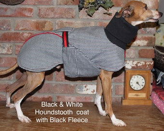 """Italian Greyhound Black & White Houndstooth Dog Coat. Size 16"""" (#00030) Chinese Crested, Min Pin, Terrier, Small Dog, Minature Poodle"""