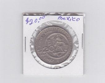 1982 Mexico  20.00 dollar coin