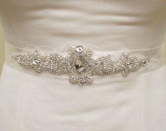 Wedding Rhinestone Applique Crystal Beaded Bridal Belt  Rhinestone Sash Wedding Sash Belts