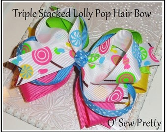 Over the Top Hair bows, Loopy hair bows, hair bows for summer, stacked hair bows, lolly pops, hair bows for girls,pink and turquoise bows
