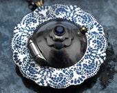 SALE ITEM  Silver Doily Locket - Cobalt Blue