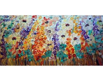 Original Oil Painting Large Floral Canvas Flowers Field Impasto Textured Art by Luiza Vizoli 42x21