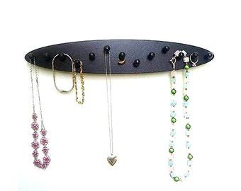 jewelry storage, earring rack, jewely rack,  NECKLACE HOLDER,  Organizer,  bracelet holder, wood 13 pegs oval wall mount