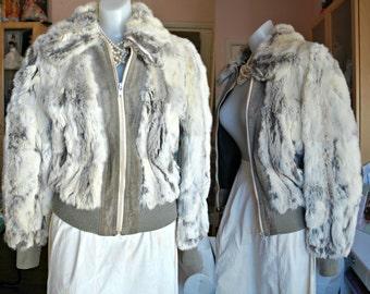 Vintage Rabbit Fur Jacket, Mongolian Rabbit Fur, 1970's, gray and white