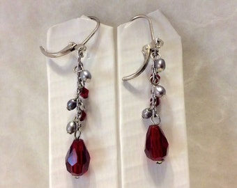 Cranberry red glass and gray pearl drop dangle earrings. Free ship