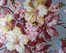Vintage Fabric Remnant Floral Turqoise rose metallic gold Table Cloth Mid Century