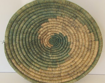 Hand Made Jute Basket Bowl Vintage Green and Natural