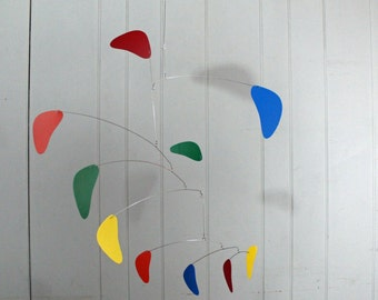 Ceiling Mobile Hanging Sculpture - Abstract Style in Modern Rainbow - Kinetic Calder Inspired 27w x 32t - P159