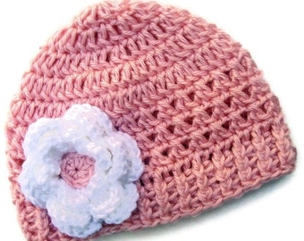 ON SALE Crochet Baby Hat, Girls Crochet Hat, Girls Pink Hat, Toddler Hat,  Crochet Hat with Flower,  pink  with white flower, MADE To Order