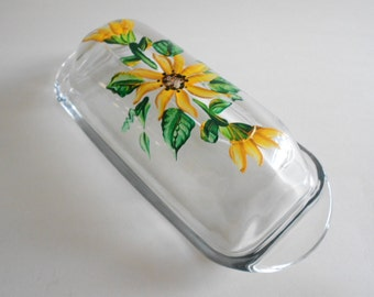Sunflowers Butter Dish Butter Container Handpainted Dish Sunflower Kitchen Clear Glass 2 Piece Serving Dish