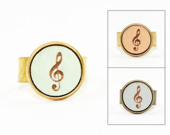 Treble Clef Ring - Laser Cut Wood in Adjustable Setting (Choose Your Color / Made To Order)