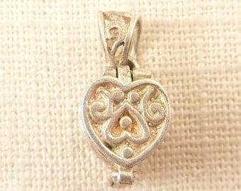 Vintage Scrollwork Sterling Opening Heart Shaped Box Pendant or Charm
