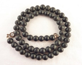 Antique Victorian Black Stone Beaded Necklace with Gold Filled Clasp