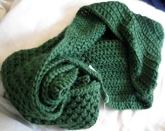 Ininity Hooded Scarf, Soft Green Crochet