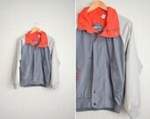 SALE // Size S // COLORBLOCK WINDBREAKER // Grey - Hideaway Hood - Vintage '80s.