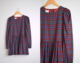 SALE // Size S/M // PLAID FLANNEL Dress // Maroon & Purple - Long Sleeve - Wool - Puff Sleeves - Laura Ashley - Vintage '90s.