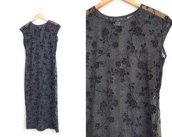 Size M // FLORAL BURNOUT DRESS // Black Maxi Dress - Sheer - Velvet Detail - Vintage '90s.