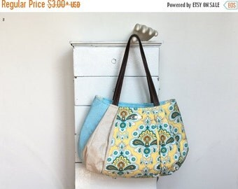 On Sale Large Hobo BLUEBERRY LEMONADE = Amy Butler French Wallpaper mustard lemon yellow turquoise blue polka dot linen vegan leather jennjo
