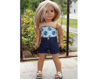 18 inch Dolls Clothes -  Girl Doll Clothes - Shorts Outfit - Strapless Top Horse Theme  - Denim  Shorts