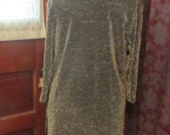 Gold Sparkle  Metallic Weave Top Vintage   Large