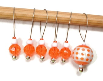 Knitting Stitch Markers Snagless Knitting Tools Beaded Neon Orange Knitting Supplies Gift for Knitter