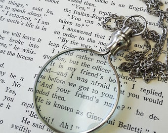 Magnifying Glass Necklace // Monocle Necklace // Steampunk Necklace // Silver Necklace // Vintage Style // Vintage Inspired Nautical