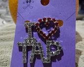 I Love To Tap, brooch, set rhinestones, tap dancer, pin, glitzy no dead stones , can be pendant convo me
