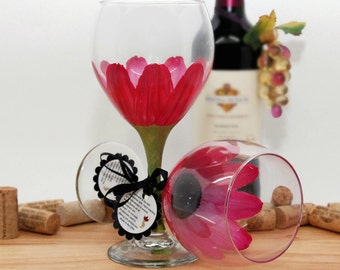 Flower wine glass, Hand painted wine glass,painted wine glass, magenta, personalized gifts, bridesmaid wine glass, pastel flowers, wine gift
