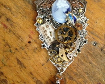 Lady Blue Thrives Within Her Time Steampunk Necklace